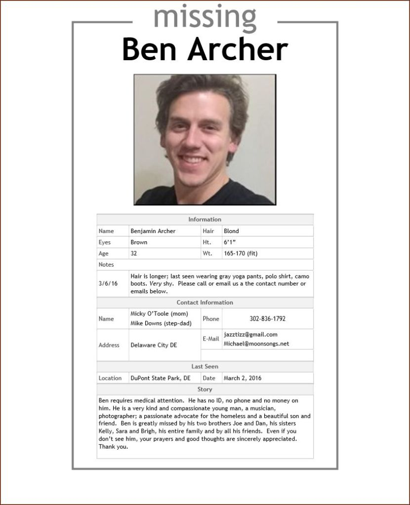 Ben Archer Missing please call 302-836-1792
